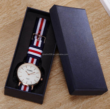 Customized black paper cardboard long shape watch gift packaging box,fancy paper watch box with EVA and velvet insert