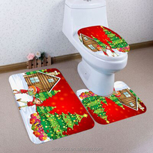3PCS Christmas Bathroom Non-Slip Pedestal Rug + Lid Toilet Cover + Bath Mat Set