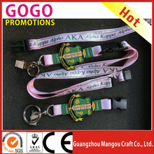 Wholesale high quality nylon material Alpha Kappa Alpha Sorority pink Lanyard with PVC sheild