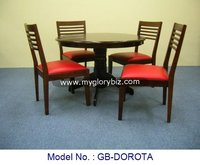 Wooden Dining Set In 1+4 Of Round Table And Chairs For Home Indoor With Modern Design