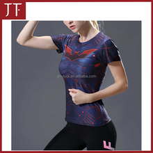 Fashion clothing 2017 plain cotton round neck women t-shirt Sport Wear