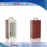 display plastic window wine box,leather packing box, wine carrier