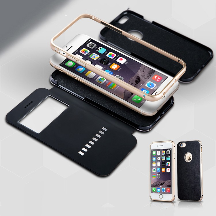 3 in 1 super phone protector Aluminium frame +PU back cover + visible skylight Leather cowhide Phone case for iphone