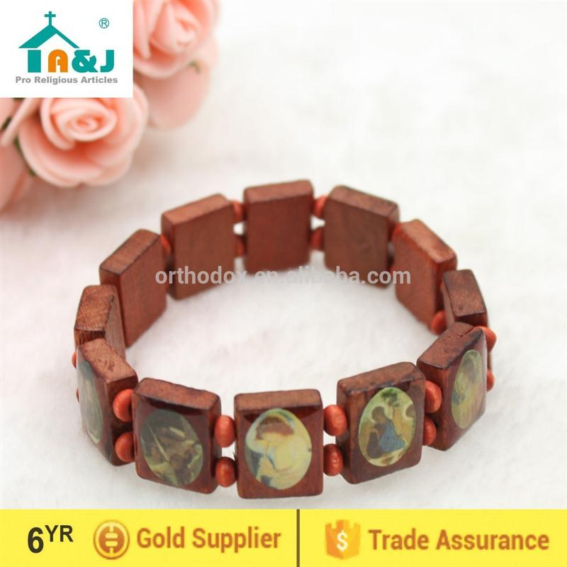 Strict quality control wood bracelet with religious pictures Wholesale custom