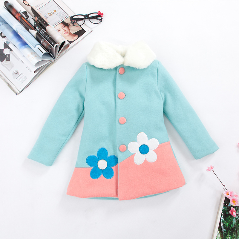 S32079W New Arrival Autumn Winter Girls Wool Coat Children Girls Clothing Fashion Girls Long Sleeve Floral Coat