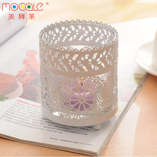 Romantic Clear Cylinder Glass Candle Jar With Metal Cover For Home Decoration