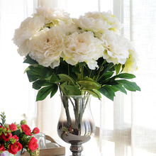 Silk Giant Peonies Fake Silk Flower Peony 5 Flower Heads Peony for Decoration