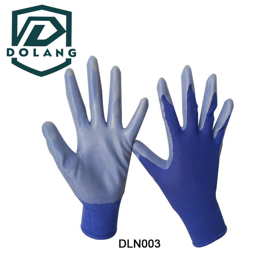Knit wrist prevent dirt and debris Nitrile Coated Industrial Work Gloves hot sale