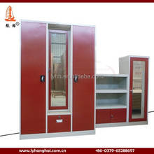 Wholeasale red color Steel Wardrobe system frosted glass door wardrobe/metal clothes wardrobe