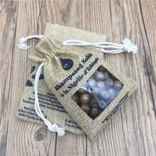 Screen Printed Jute Linen Drawstring Pouch With Transparent PVC Window for seeds