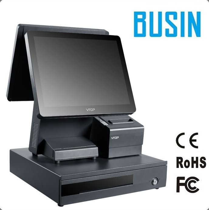 15 inch dual touch screen ordering pos system with printer and cash drawer