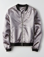 2017 Hot Custom Made Bomber Jacket Women Plain Satin Silver Bomber Jacket Wholesale