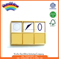 Wooden Educational Montessori Toys, Geometric Paper Card boxes , language