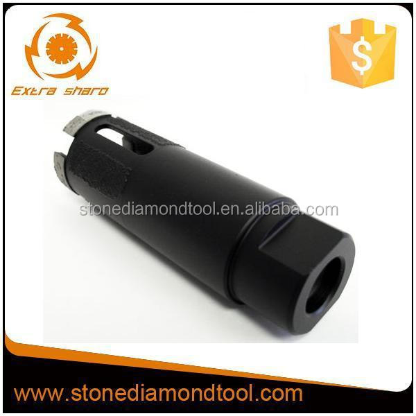 Thread vacuum brazed diamond core drill bit for granite hard rock