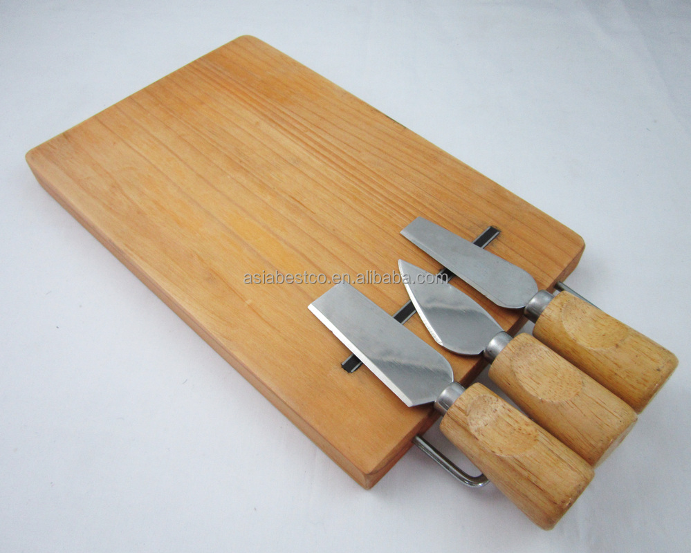 Pine Wood Cheese Cutting Board With Knivies