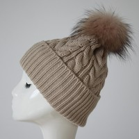 Myfur Knitted Beanie Slouchy Unisex Cap Baggy Skull Ski Keep Warm Hat with Fur Ball