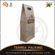 Handle and Flexo Printing Surface Handling brown kraft paper bag without handle