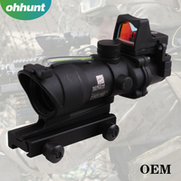 Tactical Green Riflescope 4x32 Real Fiber Optic Combat BDC reticle with small Red dot