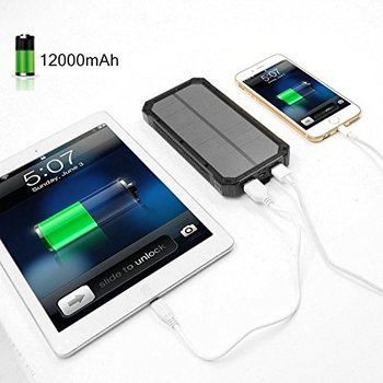 Portable Solar Power Bank 12000mah High Capacity Power Bank, Battery Charger For Mobile Phone /pad/camera