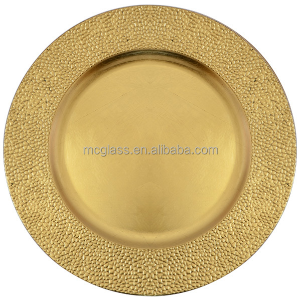 MC glassware gold plastic charger plates wholesale for wedding