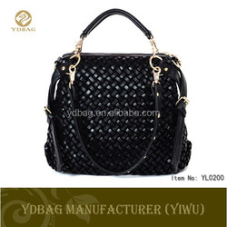 2015 hot product weave pattern fashion leather woman handbag china supplier