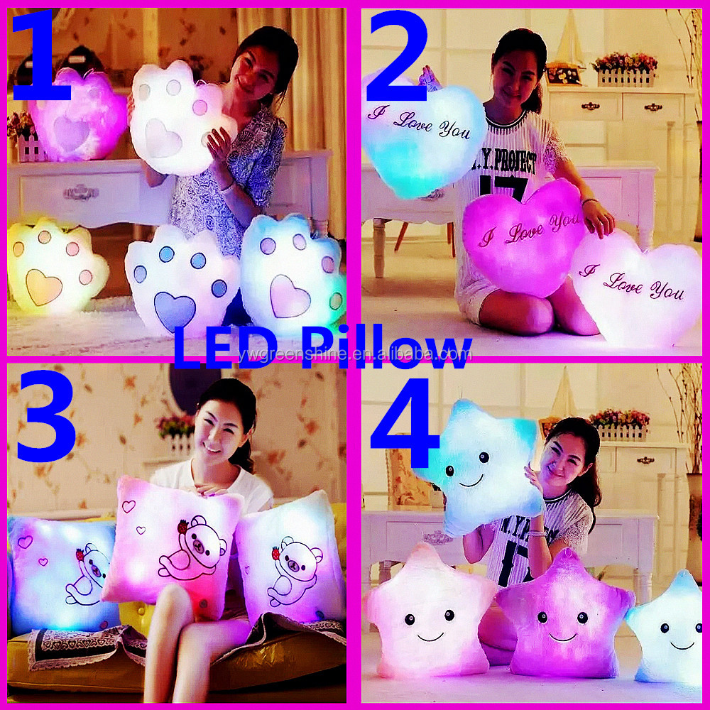 2017 Hot Sale Best Valentine' Day Present Glowing Colorful Luminous Star Shape LED Light Pillow,valentine plush heart pillow