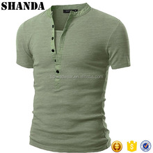 Man Blank Cheap Cotton V-neck Mens Henley T-shirts with Short Sleeve