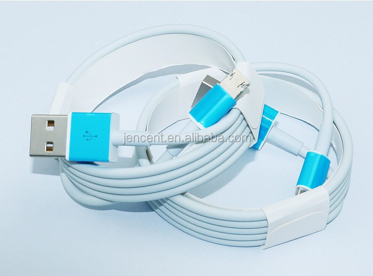 2016 new arrival 2in1 data cable one head for iphone and micro android phone 2in1 cable of one head