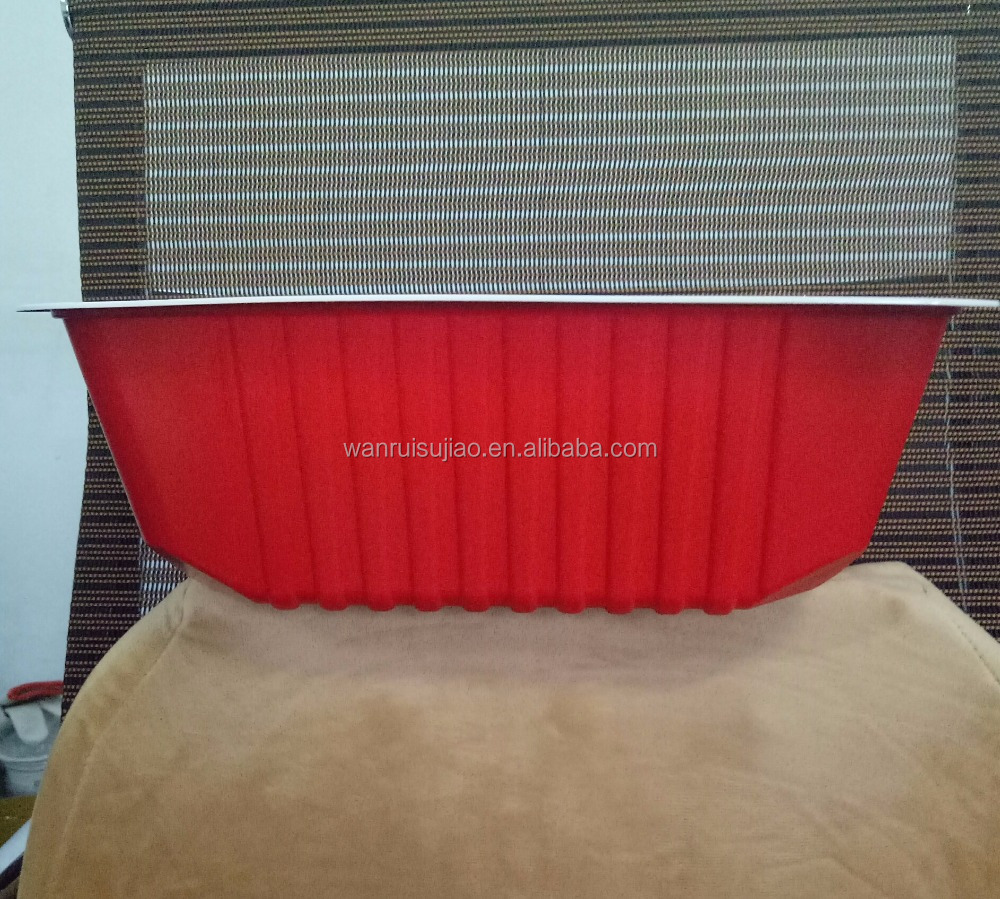 Red PP microwave safely chicken box/4800ml big plastic food container for turkey