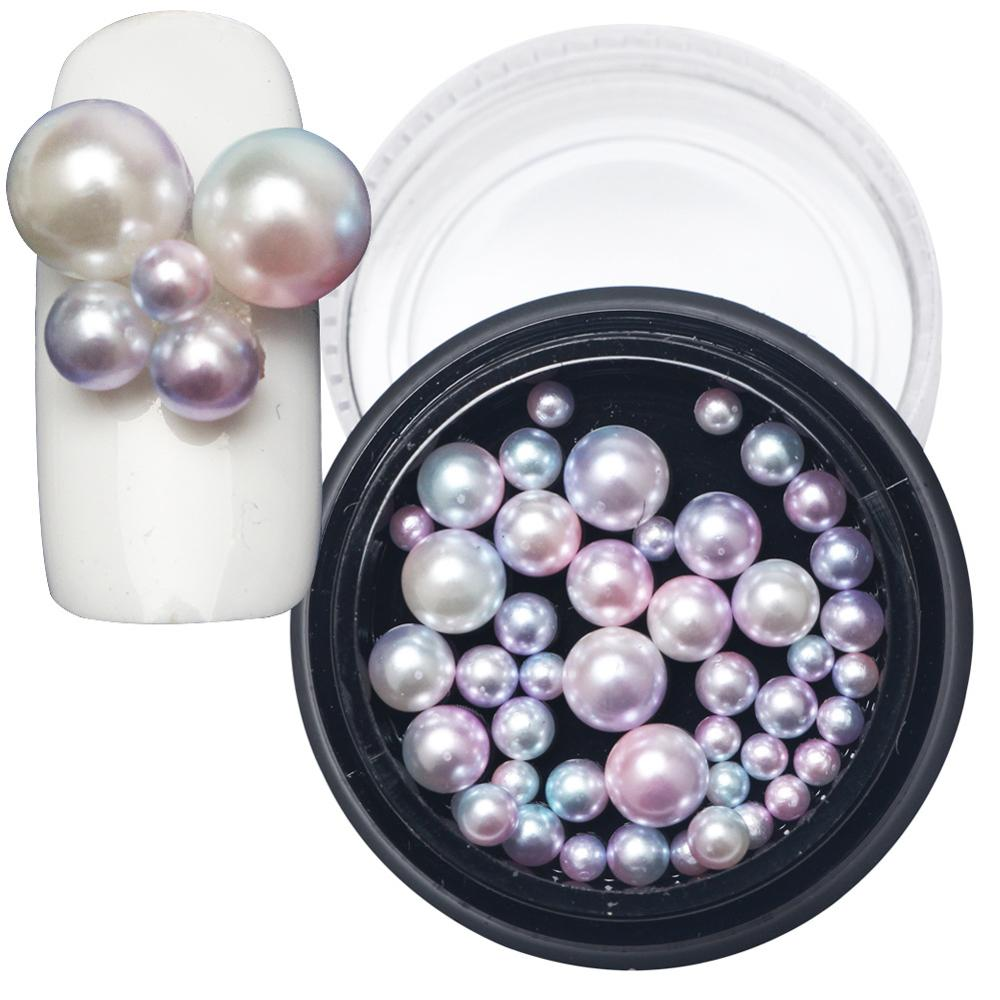 Hot sale korean japanese style nail art decorations seven color round pearl 40 bomd colour mixture in a box