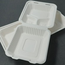 "Take Away 8"" 3 compartment Bagasse Disposable Lunch Box"