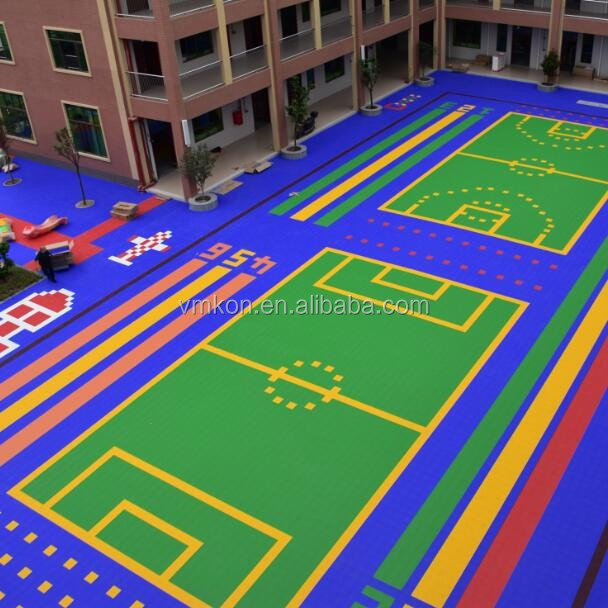 vmkon kindergarten most favourite hot sale outdoor futsal court interlock plastic flooring tiles safe pp materails vhb-252513