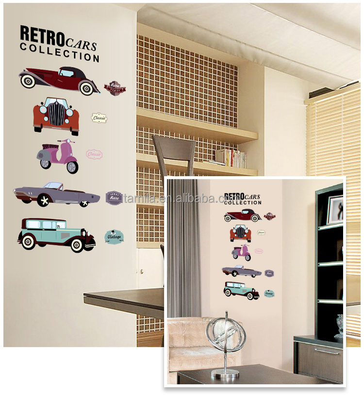 Kids Room Decorative Retro Cars Collection Wall Sticker