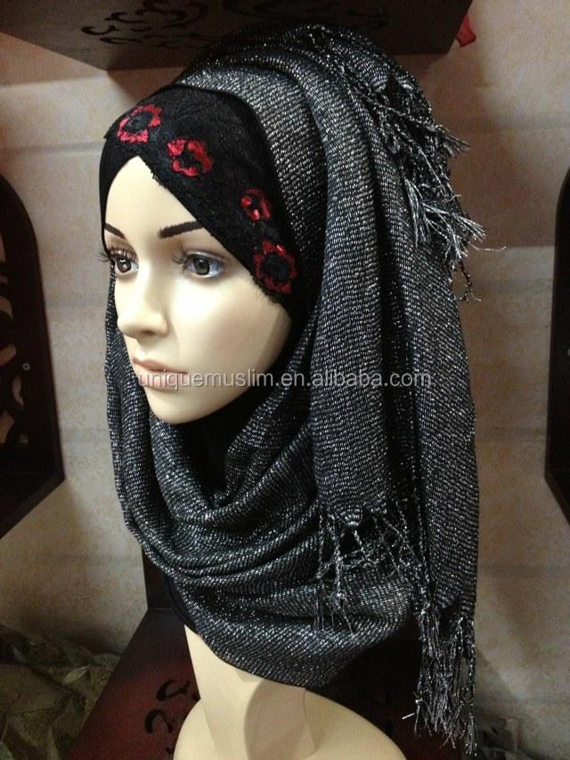 NL153 new style shimmer long muslim scarf