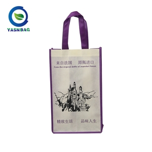 Customized color folding non woven wine gift bag