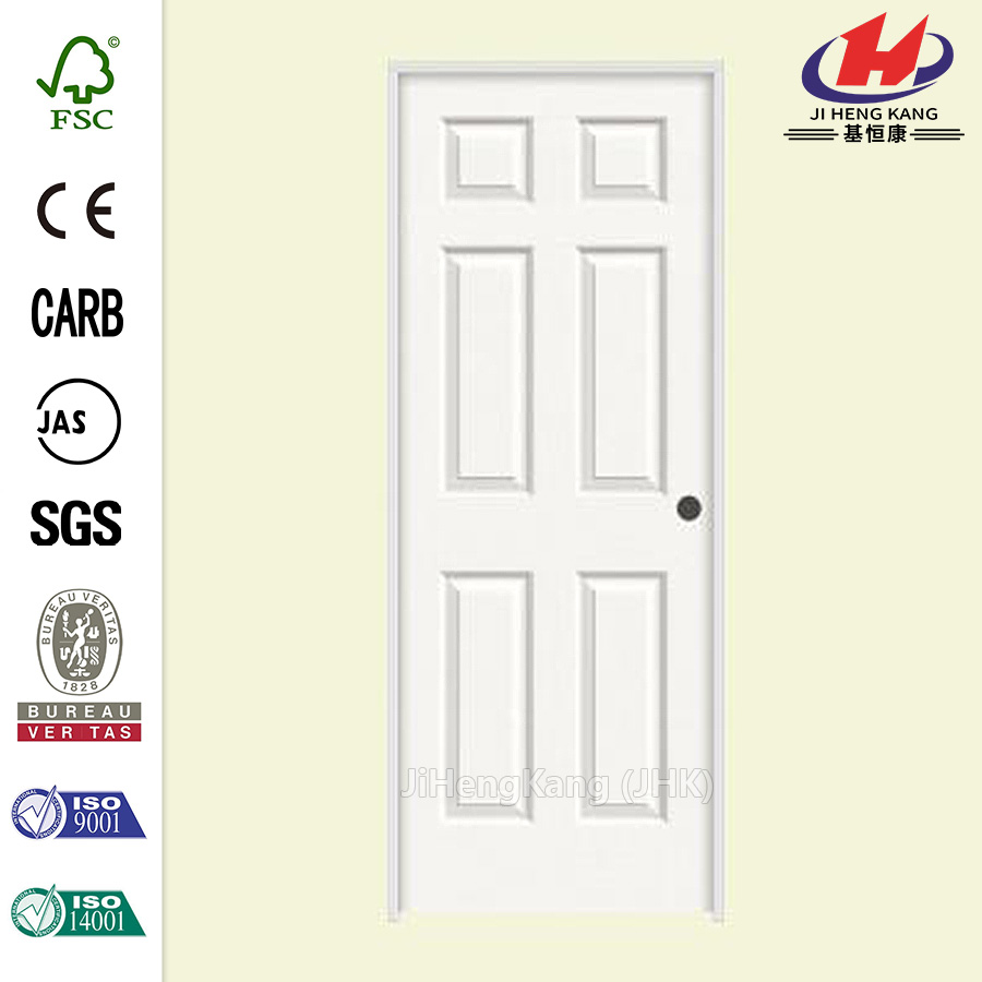 JHK- 006 6 Panel White Solid Wood Frame Interior Doors