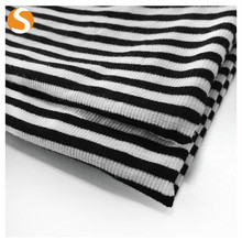 Black and White Stripe Polyester Rayon Rib Knitted Fabric