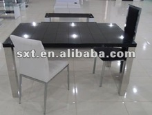 latest designs wooden dining table with glass top