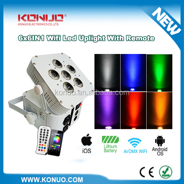 Konuo NEW battery operated 6x12W RGBWA+UV 6in1 wireless led wall washer uplighting