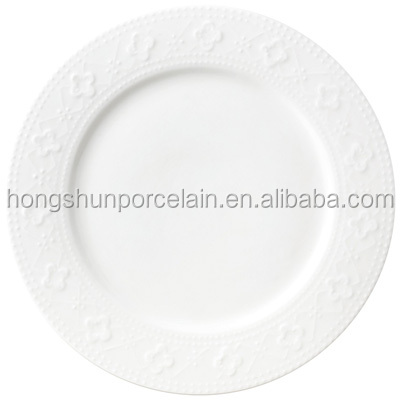 Chinese embossed white ceramic hotel dinner set