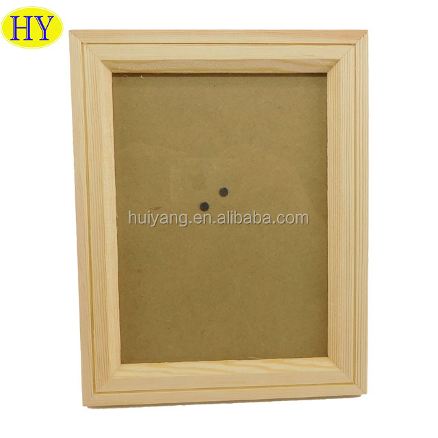 Wholesale Unfinished Picture Photo Frame Wood with Glass and Stand