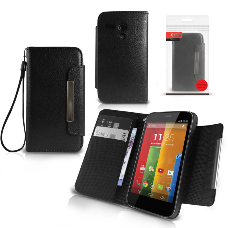 Orzly - Wallet Case for Moto G - Black