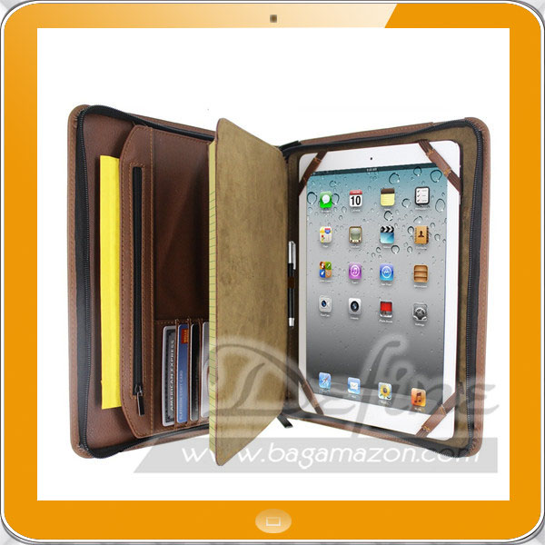 Multi-Purpose Zippered PU Leather Business Portfolio Travel Case for iPad