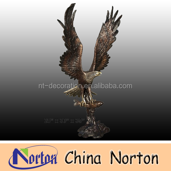 holding fish flying Brass Eagle sculpture NTBH-D042