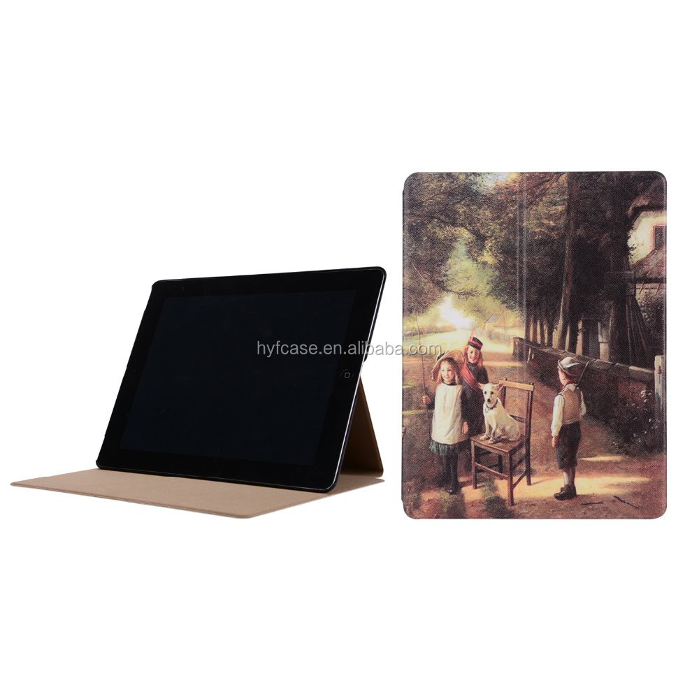 For ipad2 3 4 case PC PU leather cover case with sleep fuction for iPad Case