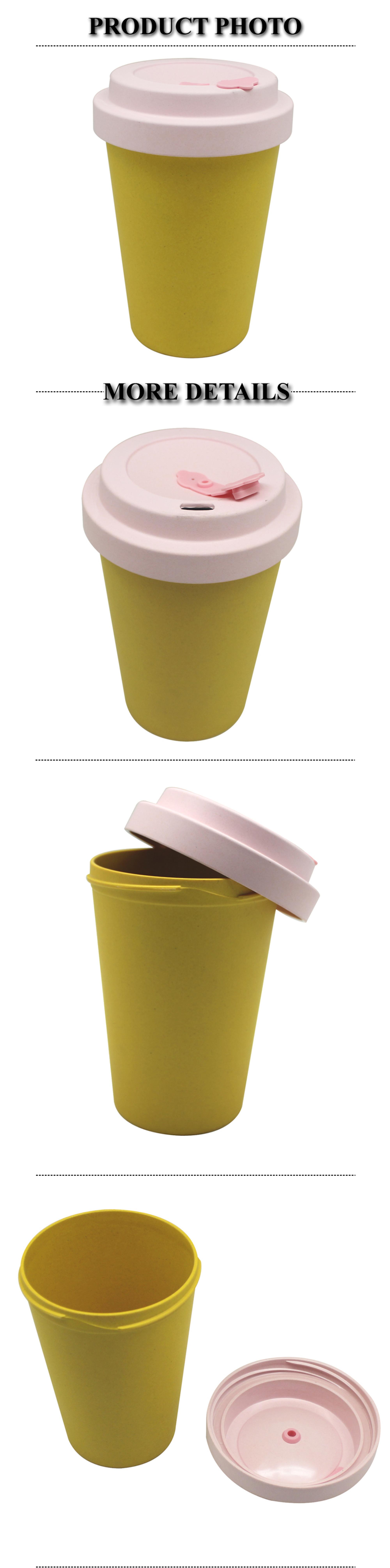 Biodegradable Colored Bamboo fiber non-spill Travelling mug