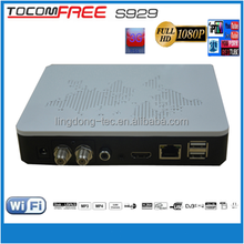 satellite internet receiver tocomfree S929 with iptv ,free sks iks for south america amazonas