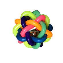 Knit Ball Rainbow rubber cat balls with bells for toys