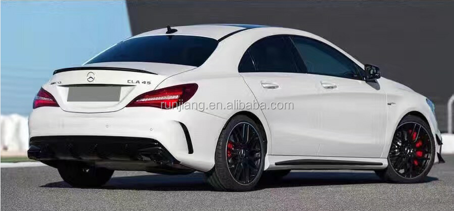 New High Quality W117 Four Square Holes Exhaust Tips and Rear Diffuser Change to CLA45 AMG Style W117 Tail Pipe Rear Bumper Lip