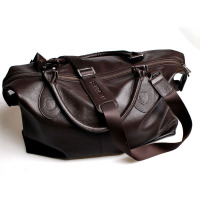 Fancy high-capacity full-grain leather short trip luggage travel bags for mens, branded luggage bags